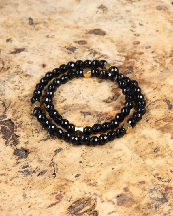black jade strech bracelet semi precious