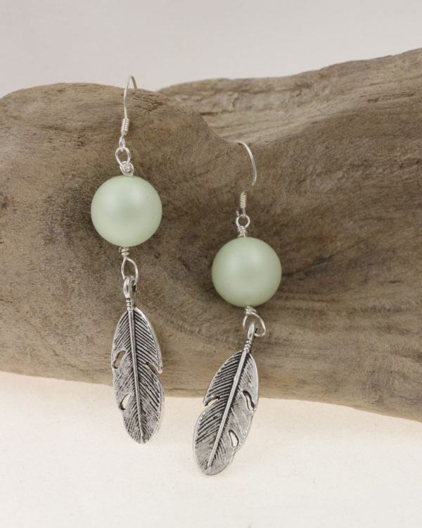 wing earring in pale green