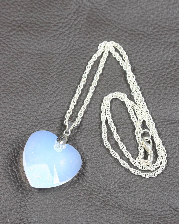 SWAROVSKI HEART WHITE OPAL SILVER CHAIN 2