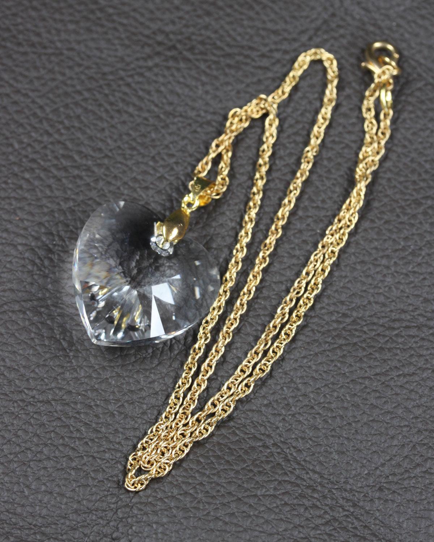 swarovski heart crystal gold chain