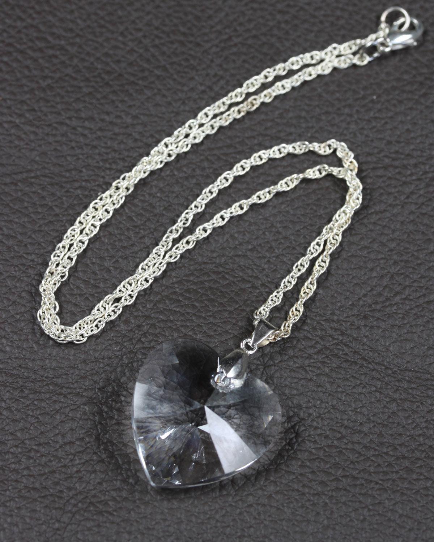 swarovski heart crystal silver chain