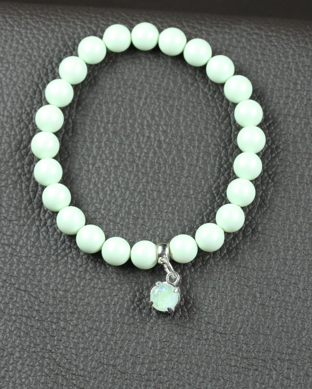 Pastel Pastel green swarovski bracelet with glass charm