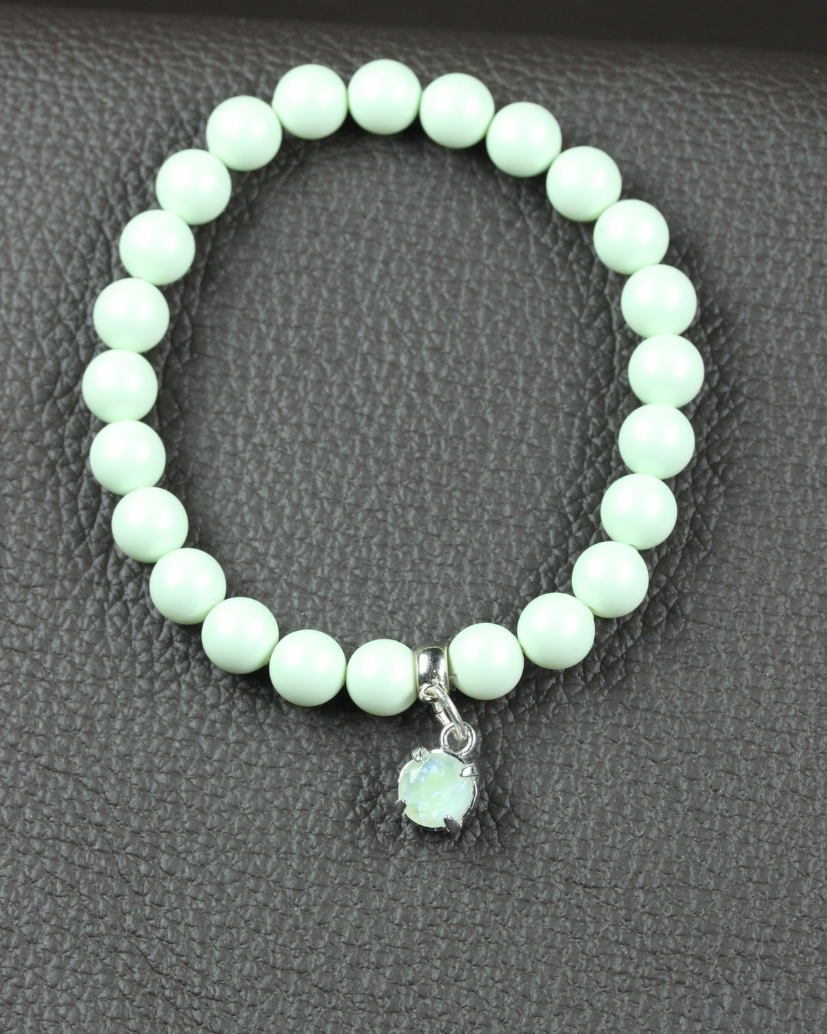 Pastel Pastel green swarovski bracelet with glass charm