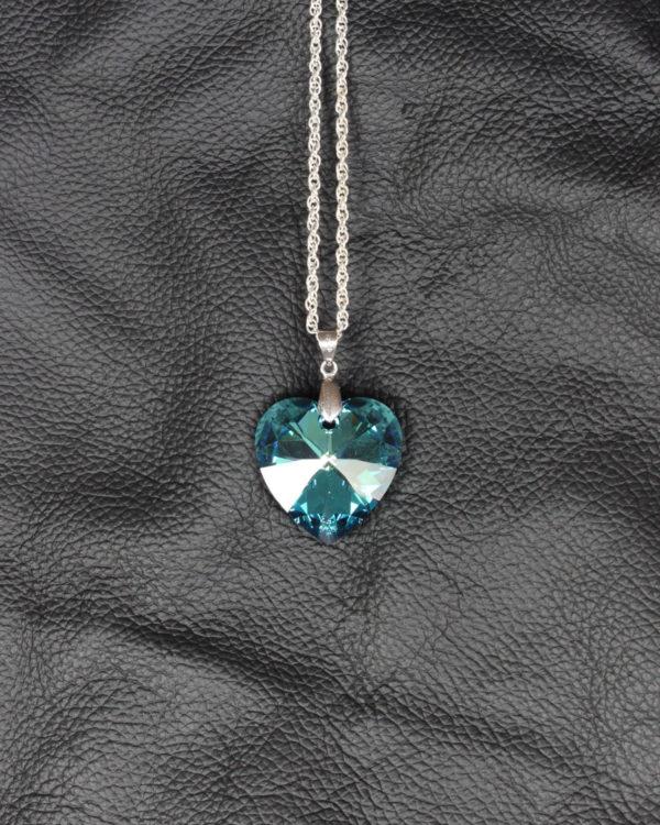 swarovski heart crystal Bermuda blue chain