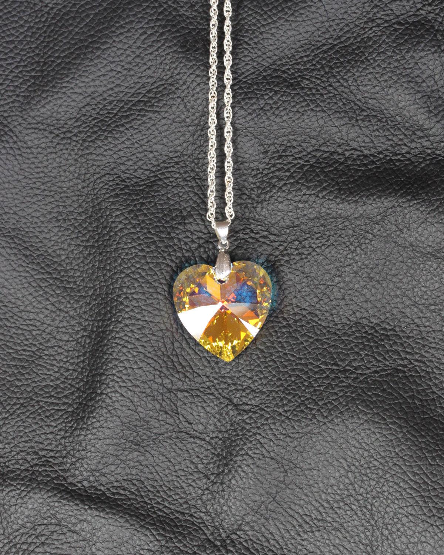 swarovski heart crystal AB silver chain