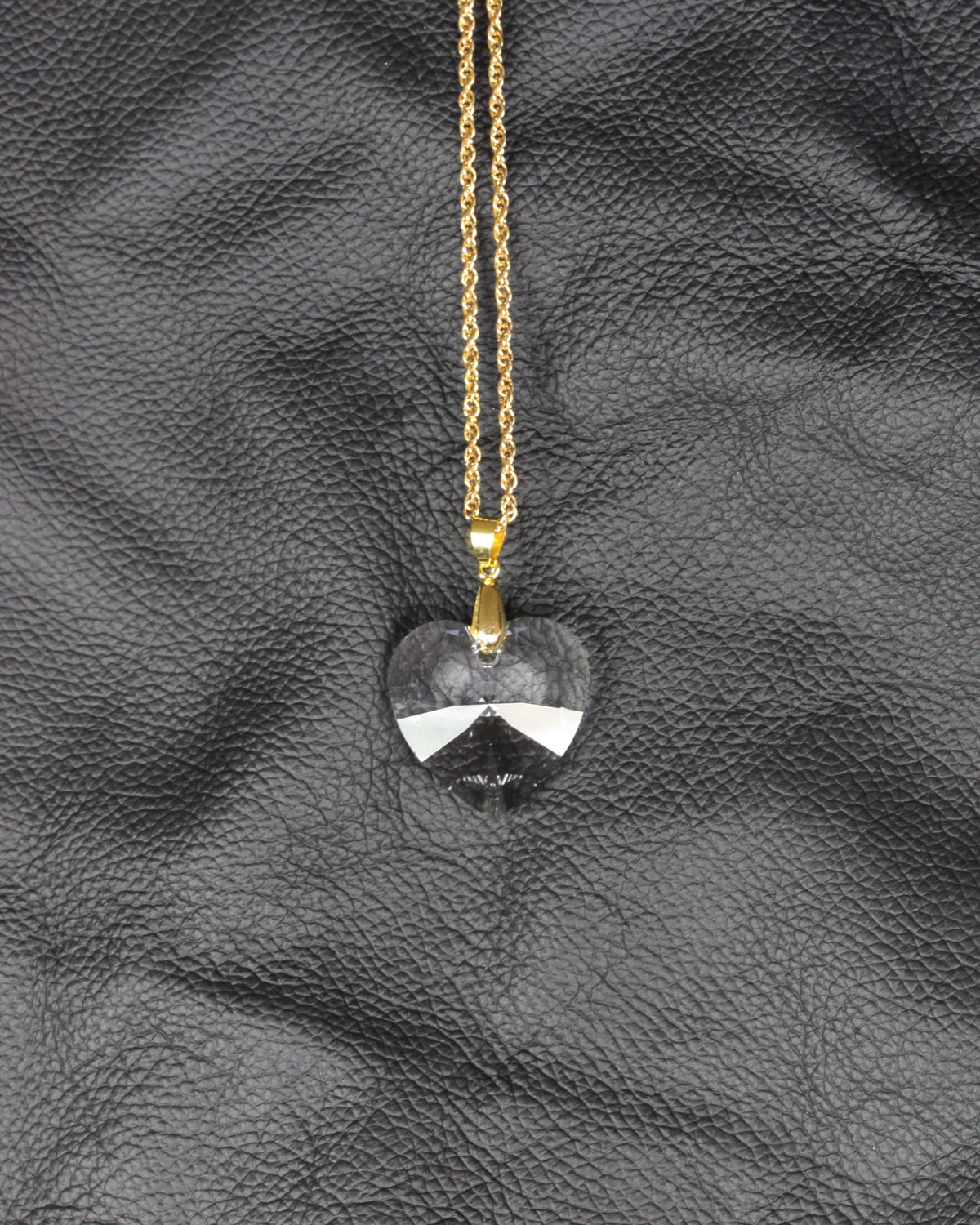 swarovski heart crystal gold chain