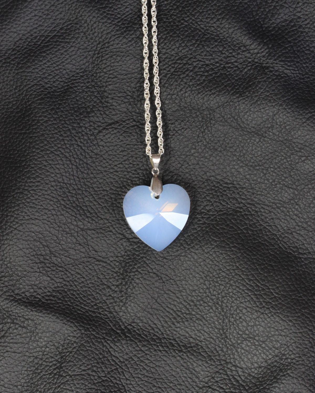 swarovski heart white opal silver chain