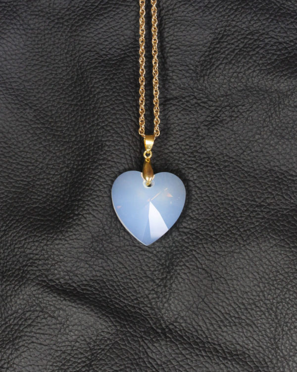 swarovski heart white opal gold chain