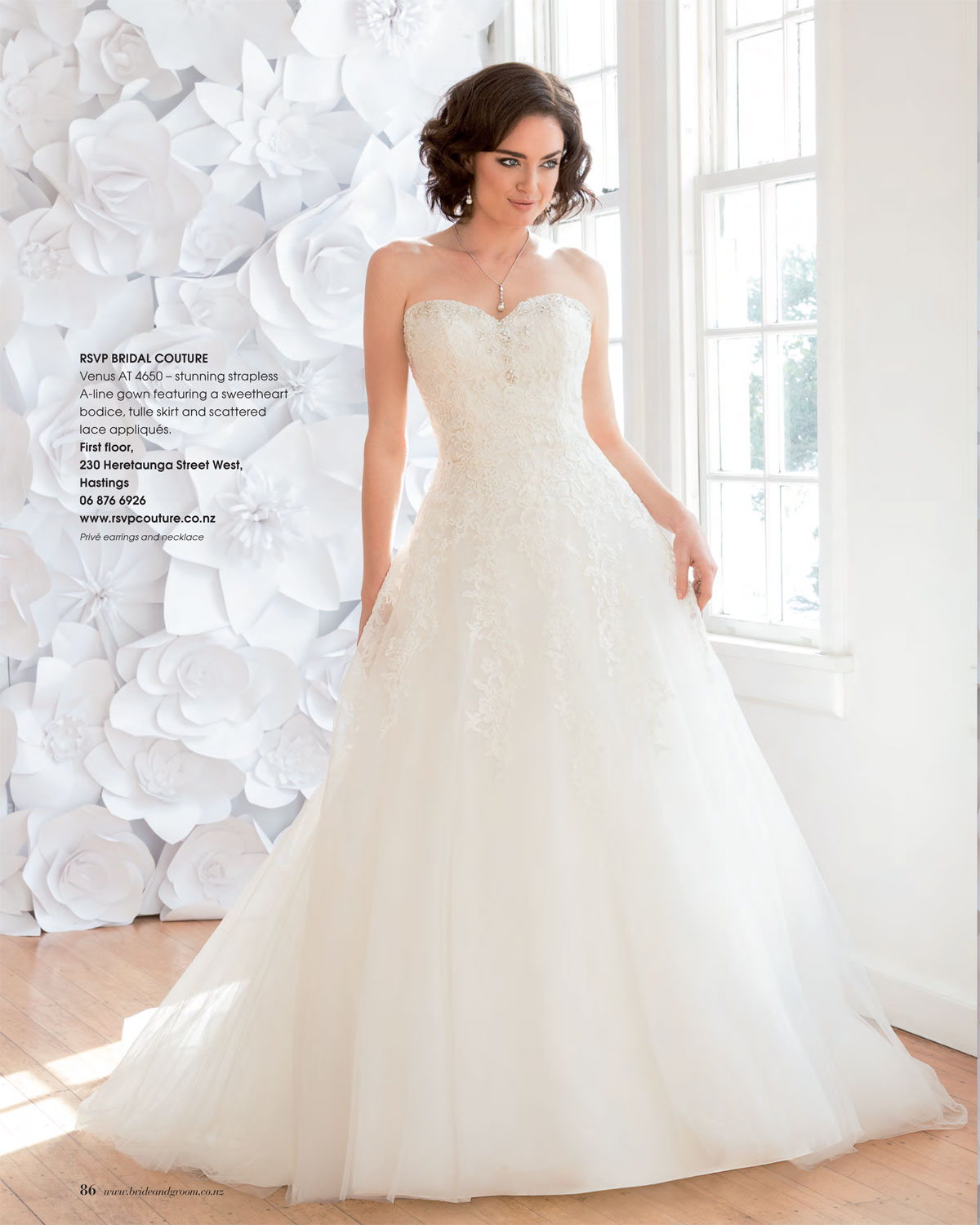 Bg90 White Rose 3 Prive Bridal