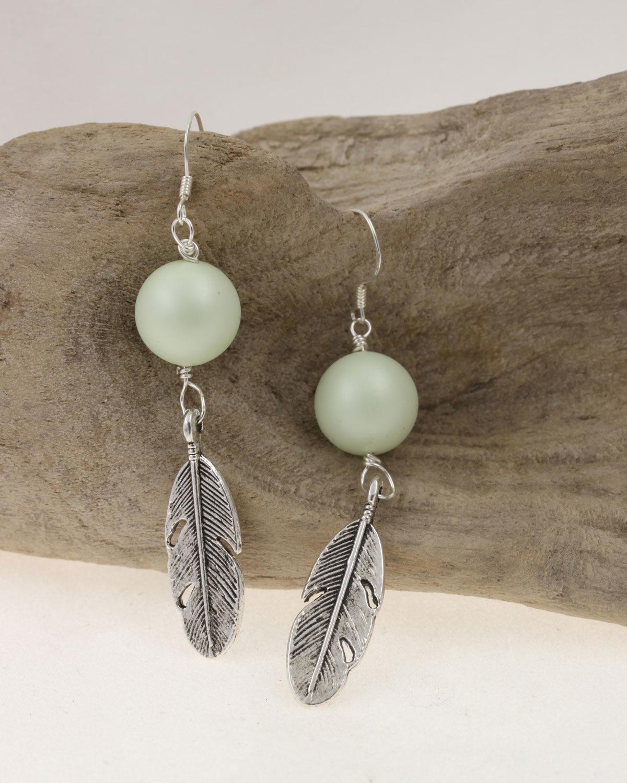 wing earring in pale green