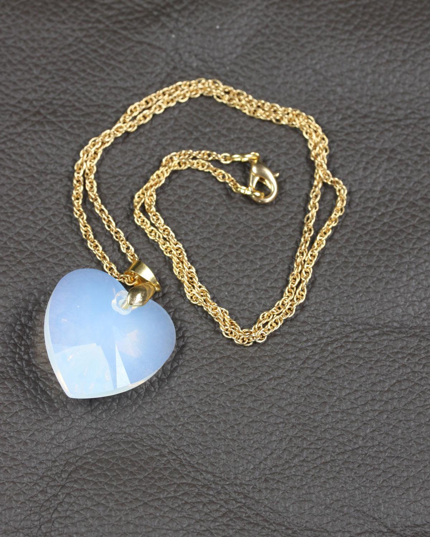 SWAROVSKI HEART WHITE OPAL GOLD CHAIN
