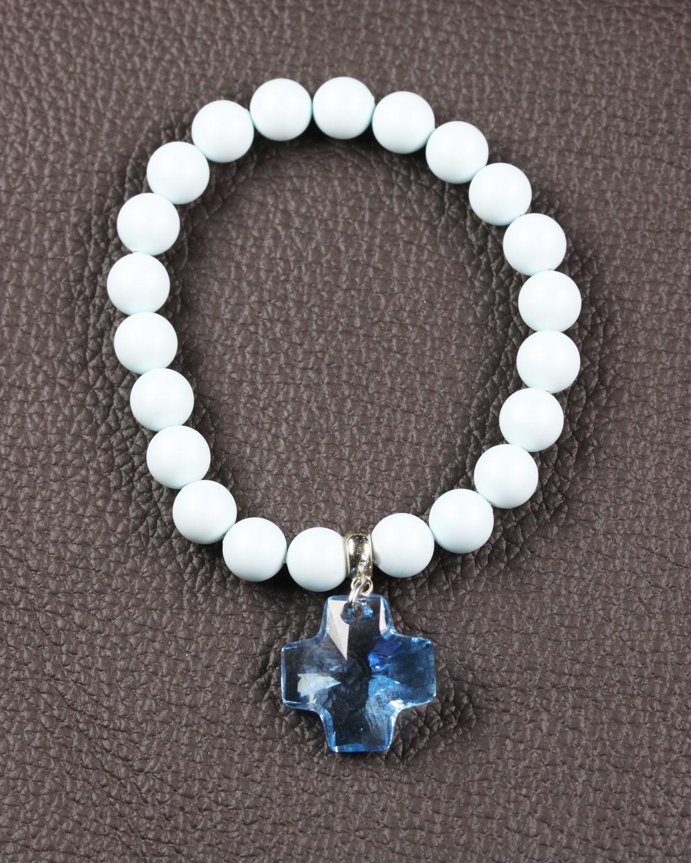 Pastel Blue swarovski bracelet with aquamarine cross