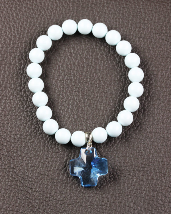Pastel Blue swarovski bracelet with aquamarine cross