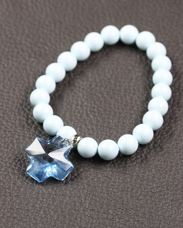 Pastel Blue swarovski bracelet with aquamarine cross 2