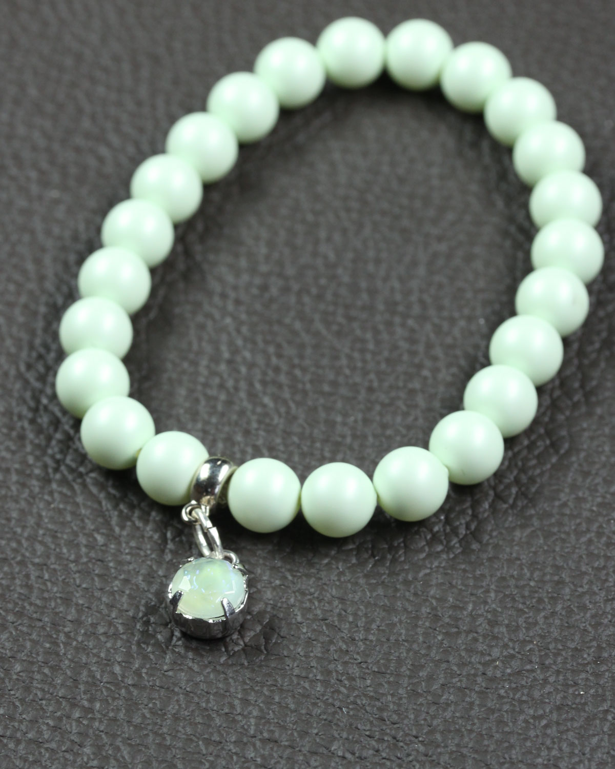 Pastel green swarovski bracelet with glass charm