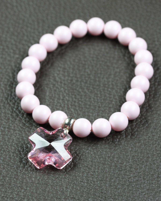 Pastel Pink swarovski bracelet with rose cross