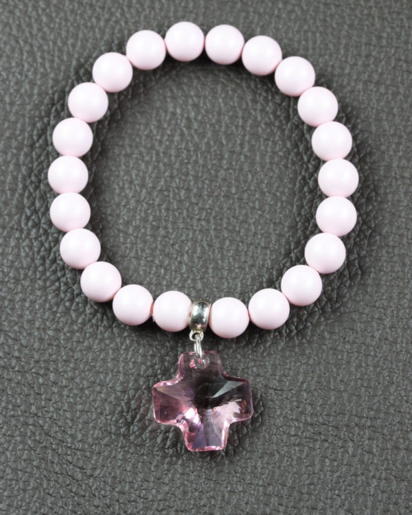 Pastel Pink swarovski bracelet with rose cross