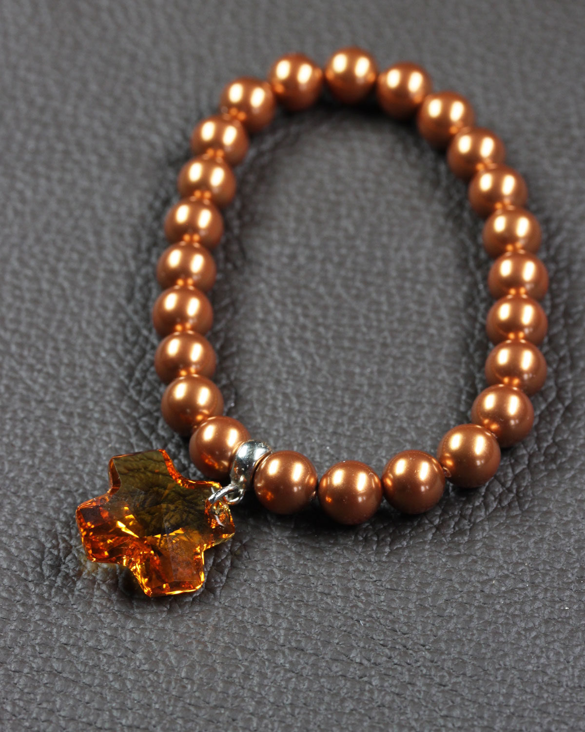 swarovski crystal pearls bracelet with cross copper