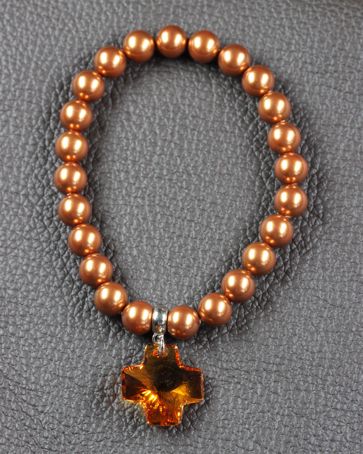 swarovski crystal pearls bracelet with cross copper 2