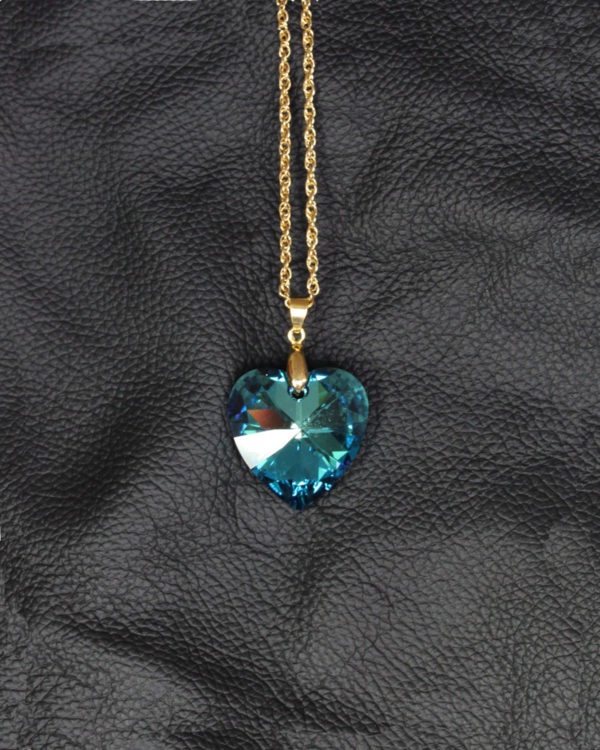 swarovski heart Bermuda blue gold chain